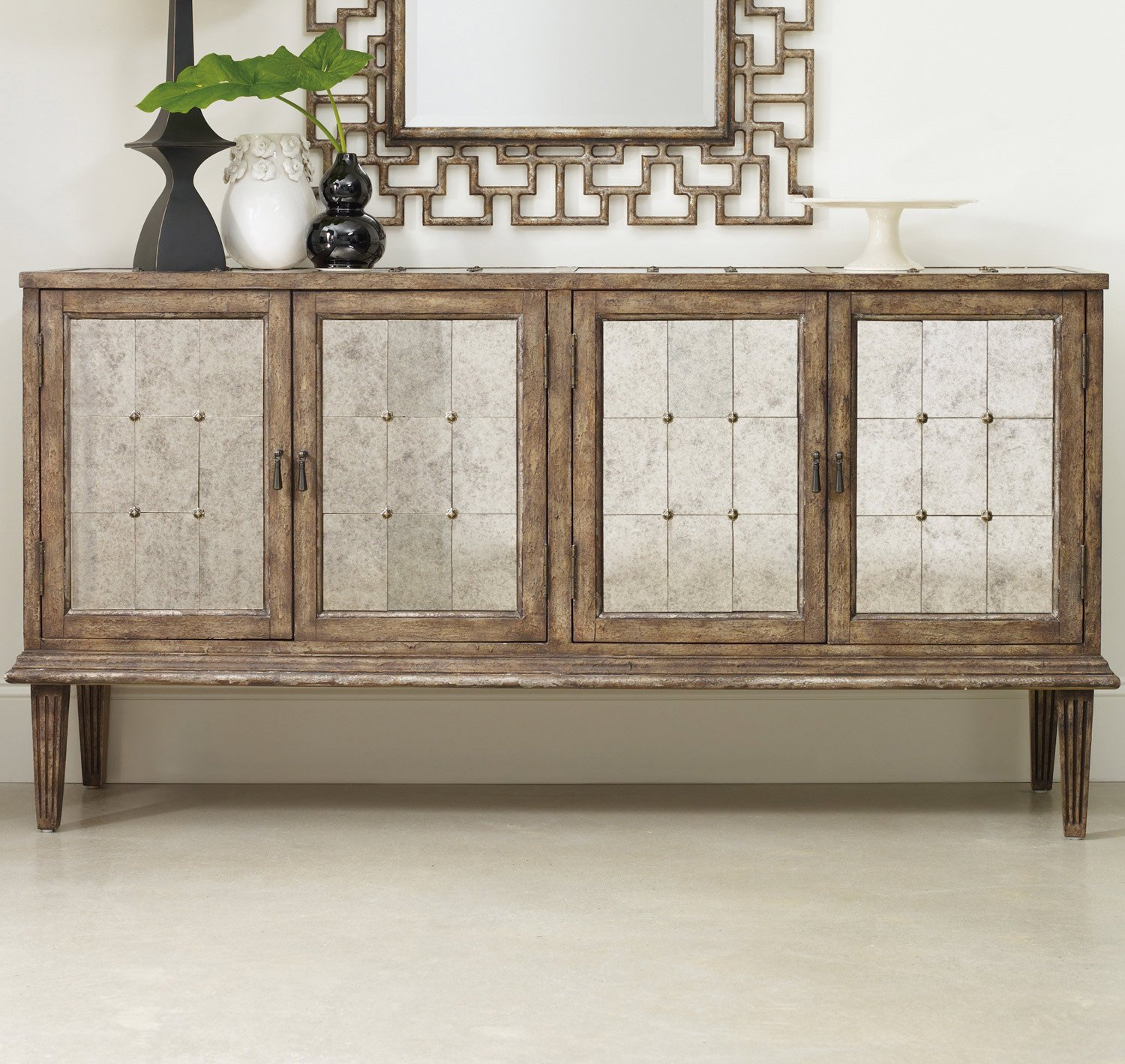 Amazon.com: Hooker Furniture Melange DeVera Mirrored Console Table: Kitchen  U0026 Dining