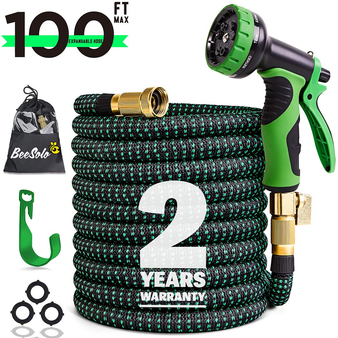 100ft Expandable Garden Hose Expanding Water Hoses, Outdoor Yard Cloth Hose can 3X Expandable with 100% Solid Brass Valve 9 Function Hose Nozzle,100feet Flexible Lightweight Gardening Hoses No Kink by Beesolo