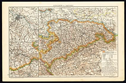 Amazon Com Antique Map Germany Kingdom Of Saxony Dresden