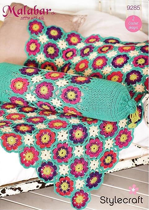 Stylecraft 9285 Crochet patrón flor manta y cojín en ...