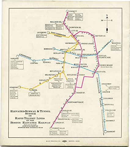 Boston Subway Map Poster.Amazon Com Historic Pictoric Map Greater Boston Transit Maps