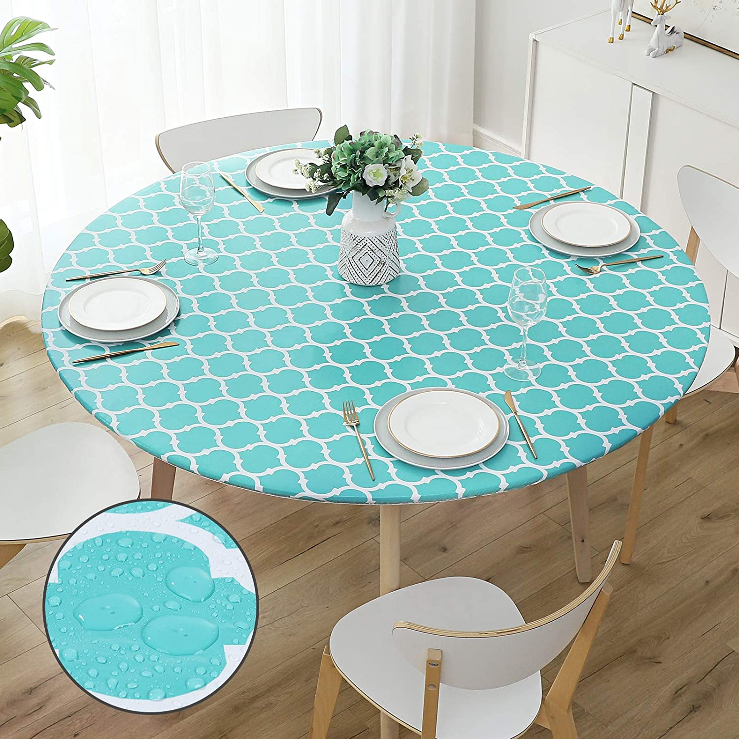 smiry Round Table Cloth Cover - Elastic Edged Flannel Backed Vinyl Tablecloth, Waterproof Wipeable Teal Moroccan Trellis Pattern Table Cover for Outdoor Indoor Room