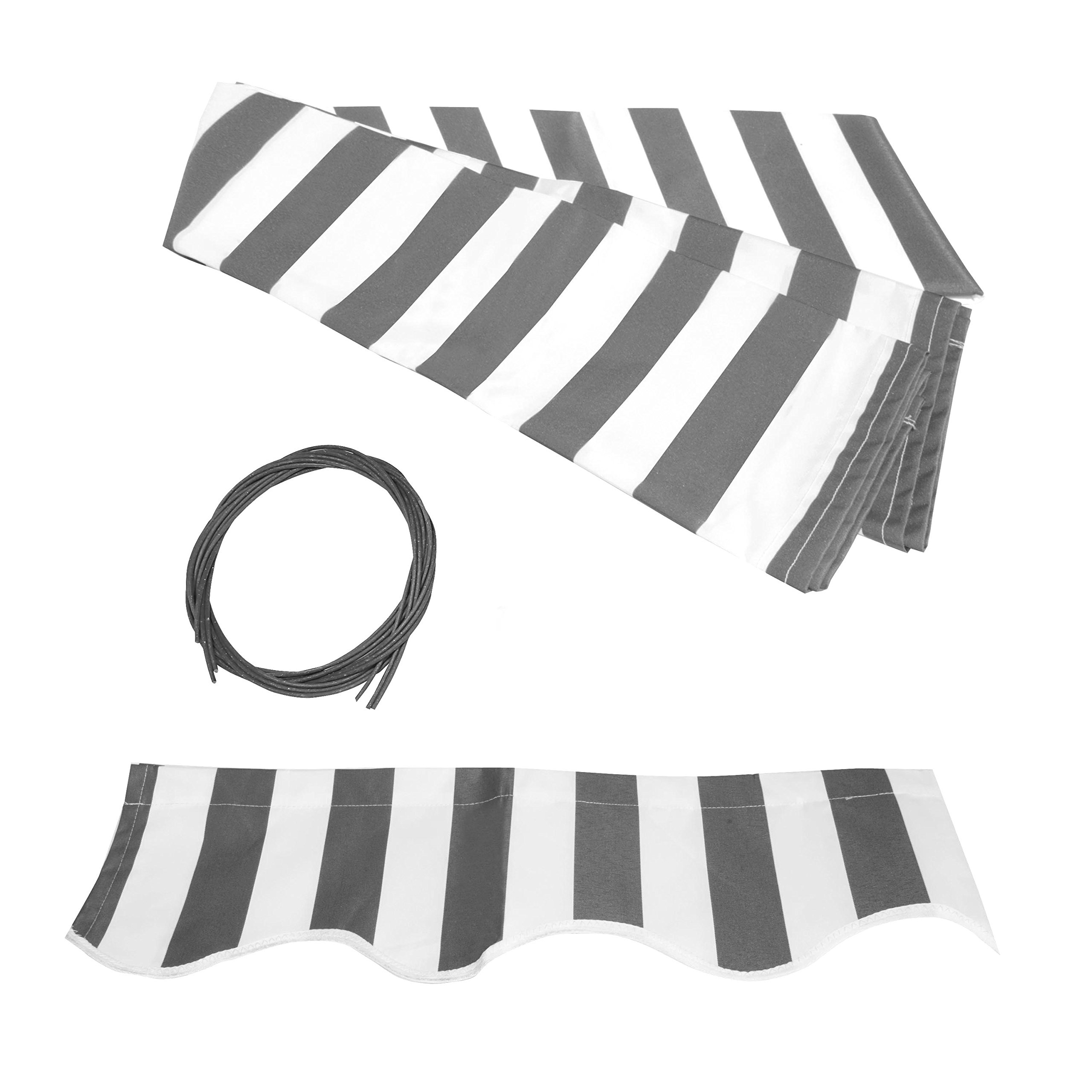 ALEKO FAB10X8GREYWHT Retractable Awning Fabric Replacement 10 x 8 Feet Gray and White Striped