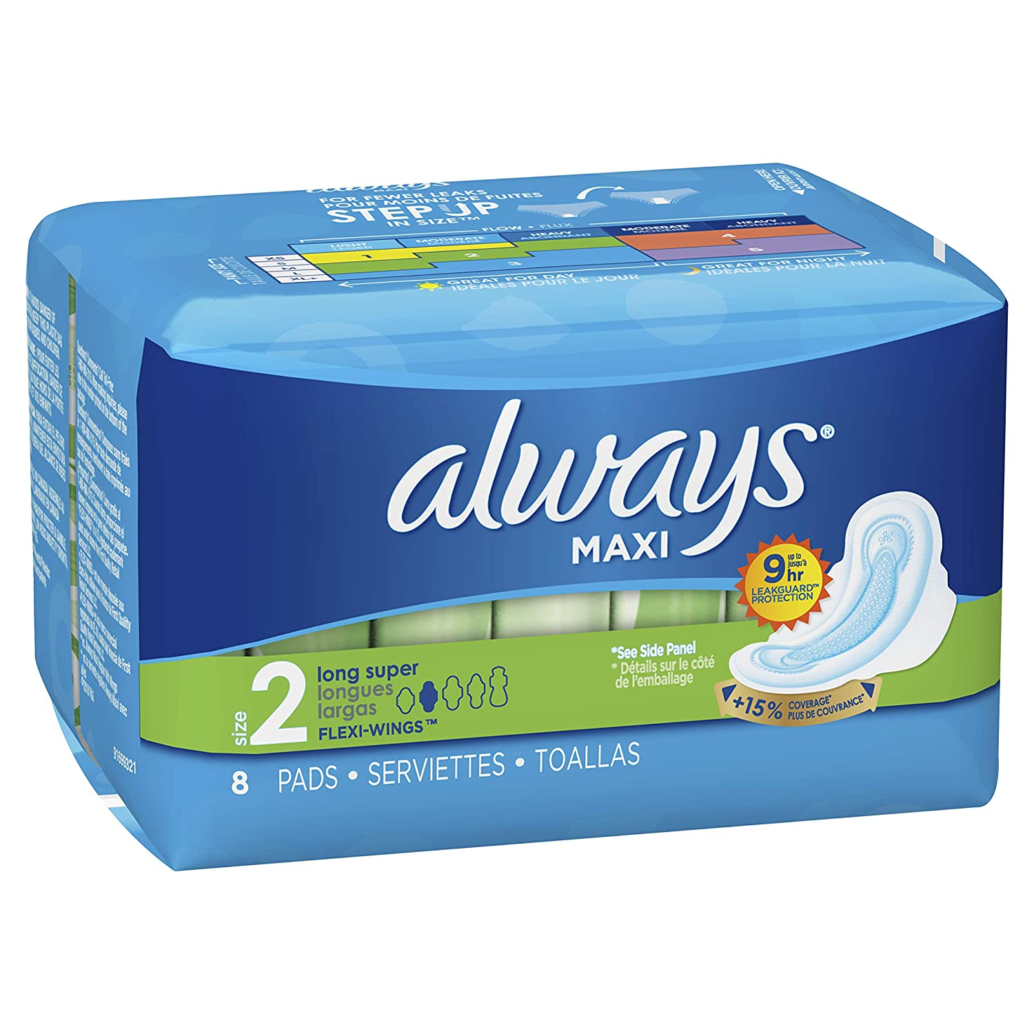 Amazon.com: Always Maxi Long Super Pads with Flexi-Wings, 8-Count: Health & Personal Care