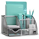 Mindspace Office Desk Organizer with 6 Compartments + Drawer + Pen & Pencil Holder | The Mesh Collection, Silver