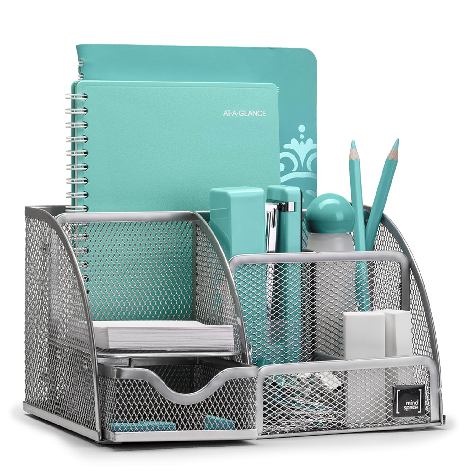 Mindspace Office Desk Organizer with 6 Compartments + Drawer + Pen & Pencil Holder   The Mesh Collection, Silver by Mindspace