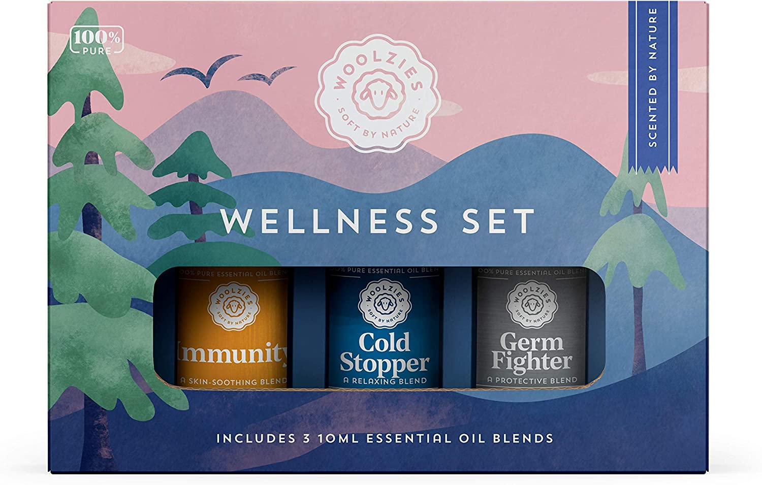 Woolzies 100% Pure Wellness Essential Oil Blend Set   Good Health Germ Fighter Cold Stopper   Natural Cold Pressed Highest Quality Undiluted Therapeutic Grade Oils  for Diffusion Internal or Topical