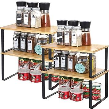 haitral spice rack cabinet shelf organizer set of 4 bamboo kitchen cabinet and counter shelf organizer stackable expandable kitchen shelves racks