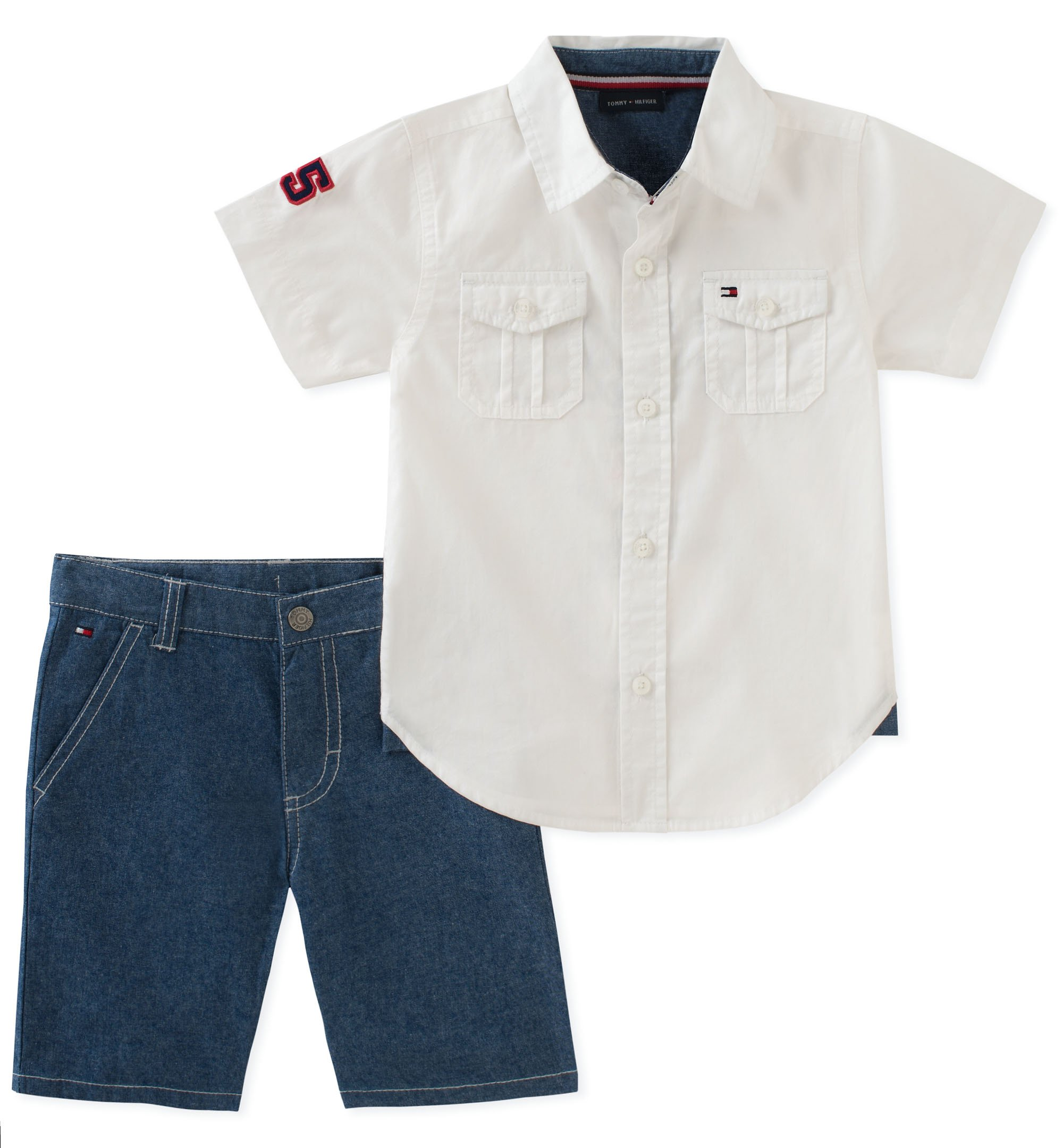Tommy Hilfiger Toddler Boys' 2 Pieces Shirt Shorts Set, White/blue, 2T