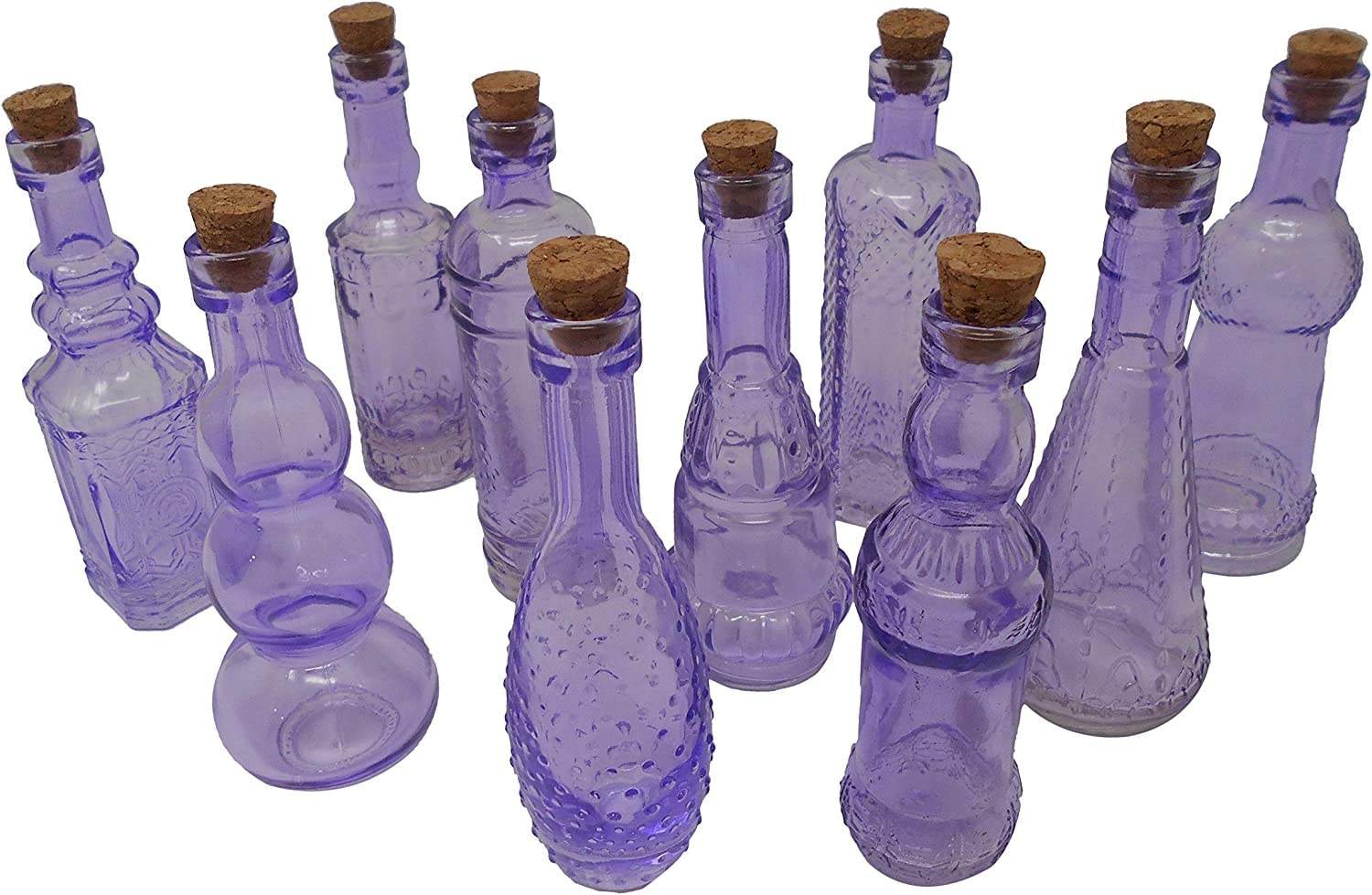 BULK PARADISE Purple Vintage Glass Bottles with Corks, Assorted Shapes, 5 Inch Tall, Set of 10 Bottles