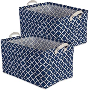"DII Cotton/Polyester Cube Laundry Basket, Perfect In Your Bedroom, Nursery, Dorm, Closet, 12.5 x 18 x 10.5"", XL Set of 2 - Nautical Blue Lattice"