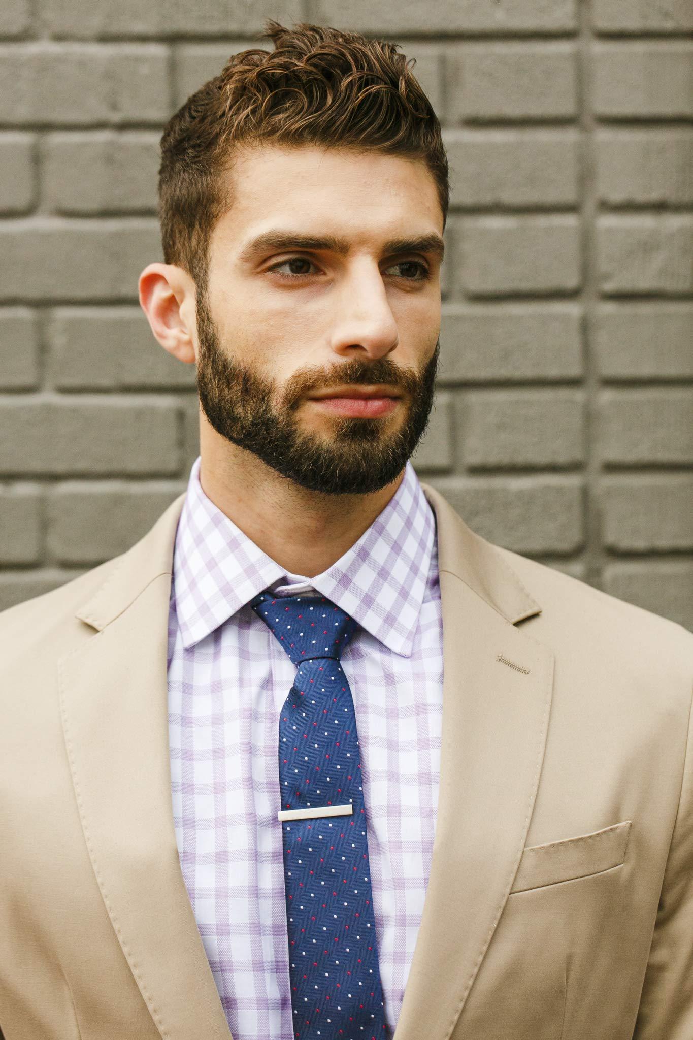 Cueva Bar 4.13 cm Tie Clip, Suiting Tie Clip, Great Gift for Men, Classic Style, Office Look, Wedding Business Necktie Clip, Silver Steel, Unique Design, Everyday Wear, Fashion Necktie Clip by Cueva (Image #4)