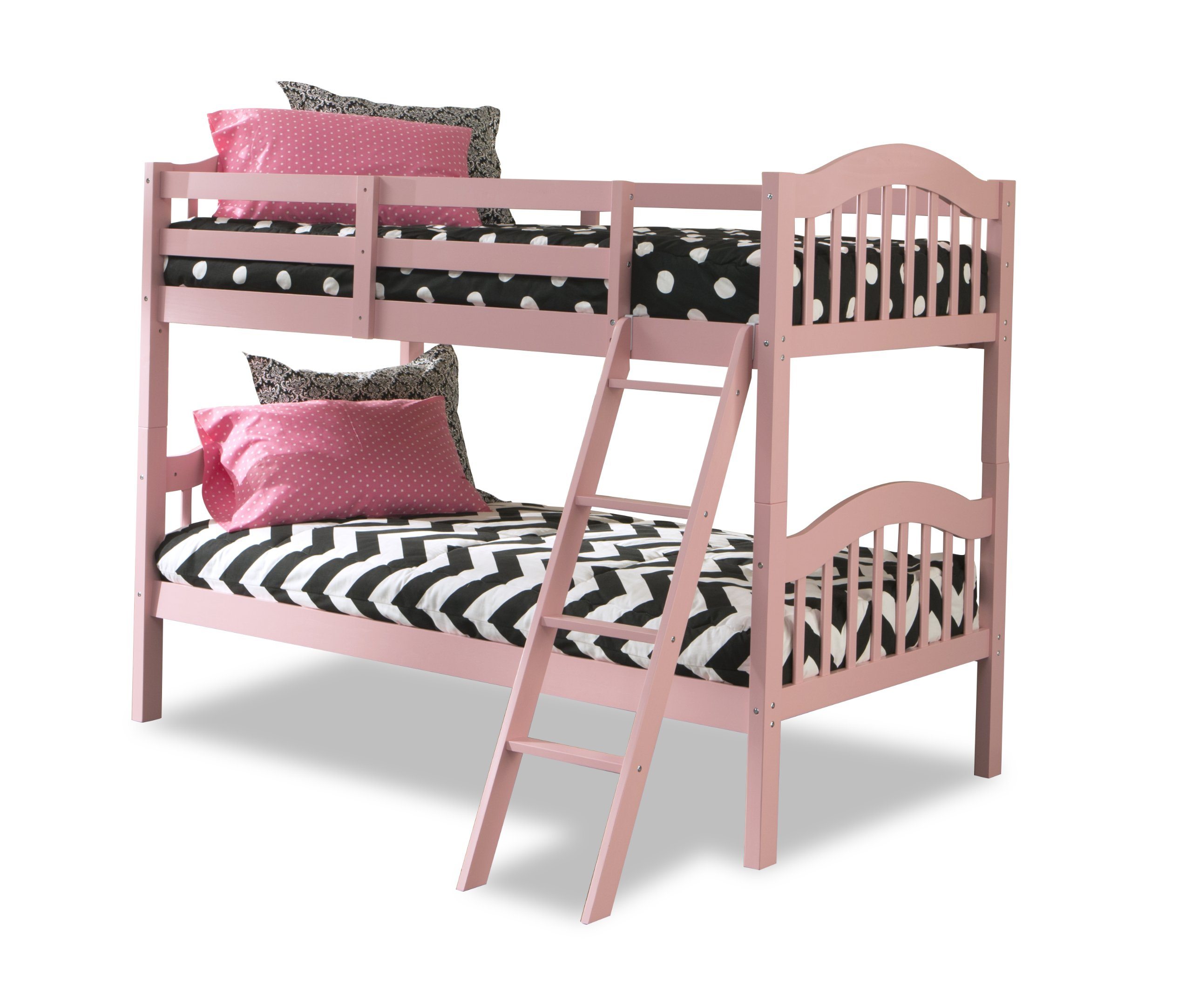 Storkcraft Long Horn Solid Hardwood Twin Bunk Bed Pink Twin Bunk Beds for Kids with