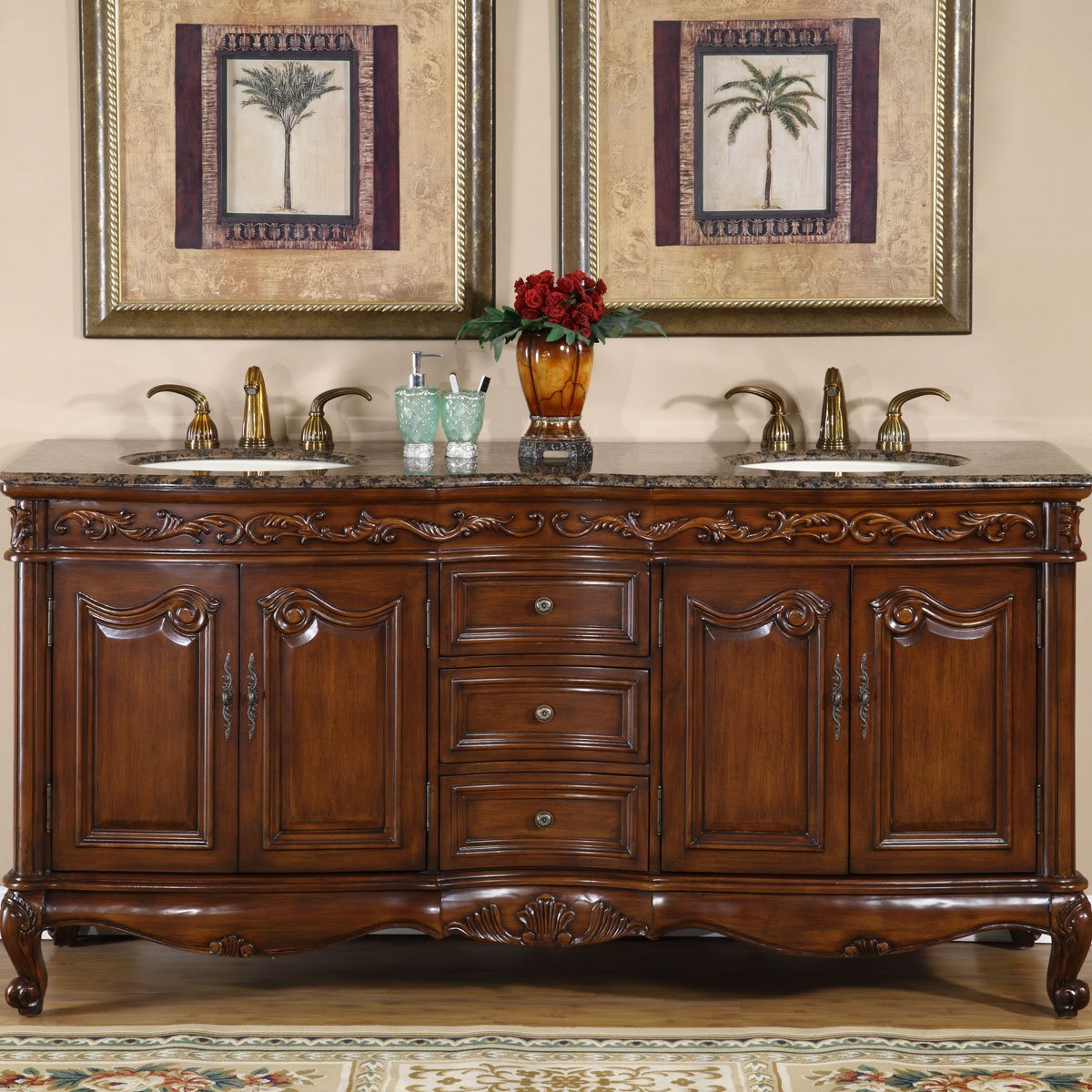 Amazon.com: Silkroad Exclusive Baltic Brown Granite Top Double Sink  Bathroom Vanity With Cabinet, 72 Inch: Home U0026 Kitchen