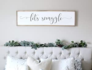 Tamengi Let's Snuggle Sign Bedroom Wood Signs Master Bedroom Wall Decor Guest Bedroom Sign Sign for Above Bed 6x20inch