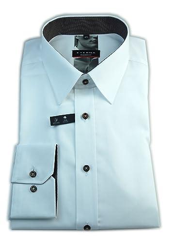 ETERNA Herren Langarm Hemd Modern Fit weiß strukturiert mit Patch 8551.00.X148