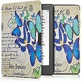 kwmobile Cover per Kobo Aura Edition 2 - Custodia a libro per eReader - Copertina protettiva libro flip case Protezione per e-book reader Design farfalle scritte blu menta beige