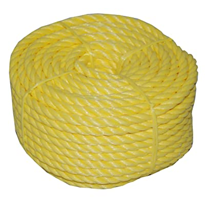 T.W Evans Cordage 31-063 3/4-Inch by 50-Feet Twisted Yellow Polypro Rope Coilette [5Bkhe0811593]