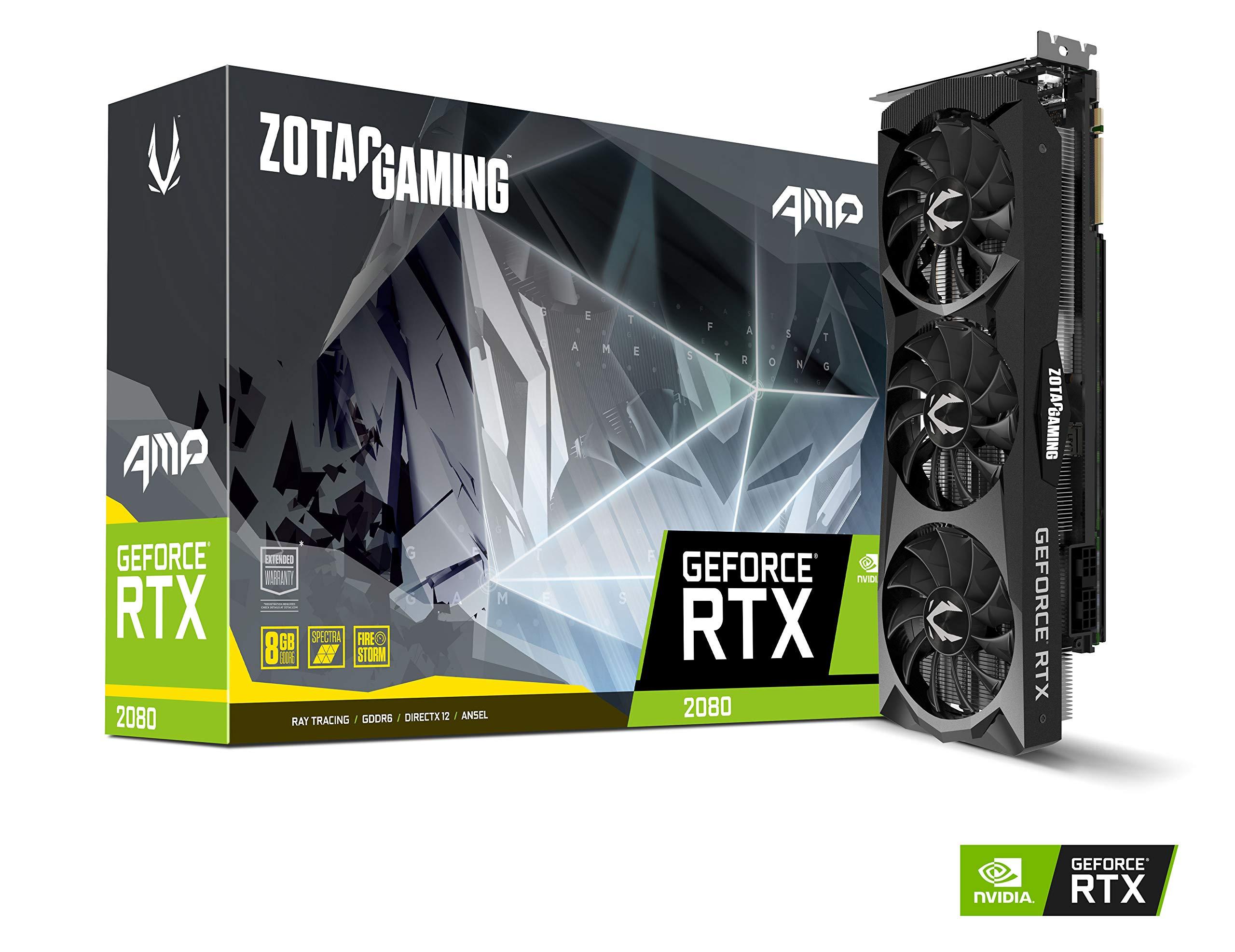 ZOTAC GAMING GeForce RTX 2080 AMP 8GB GDDR6 256-bit Gaming Graphics Card Triple Fan Metal Backplate LED - ZT-T20800D-10P