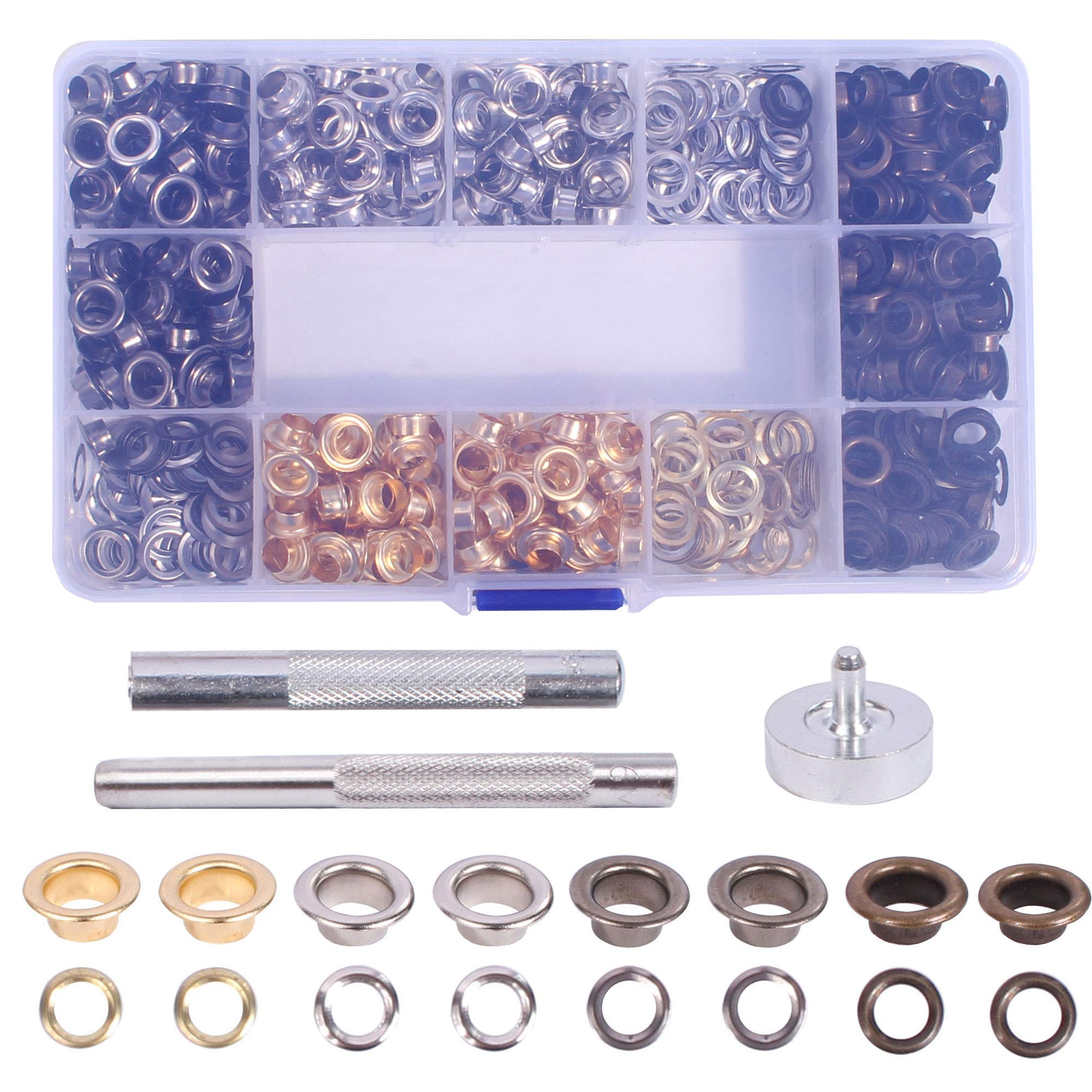 400 Sets Grommet Tool Kit 1/4 inch, Grommet Eyelet Setting Tool with Storage Box by AllGoodWare