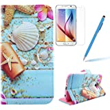 Felfy Galaxy S6 Wallet Case, Seashell Pattern Cover Case for Samsung Galaxy S6,Flip Book Style Magnet Closure Pouch Protective Cover for Samsung Galaxy S6 + 1 Stylus Pen + 1 Screen Protector.