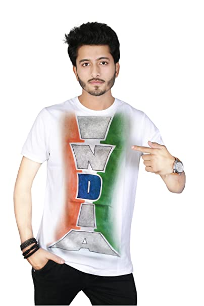 d5c540d55 Sketch Lion Stylish Hand Painted Independence Day/Republic Day Special  Indian Flag Print Round Neck