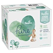 Size 2, 186 Count - Pampers Pure Disposable Baby Diapers, Hypoallergenic and Fragrance Free Protection, ONE Month Supply