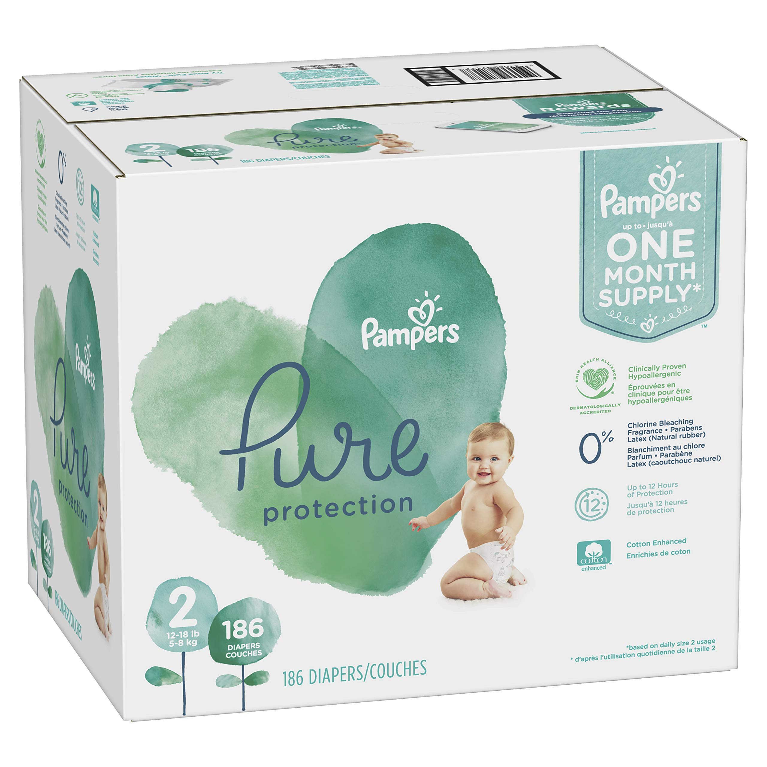 Size 2, 186 Count - Pampers Pure Disposable Baby Diapers, Hypoallergenic and Fragrance Free Protection, ONE Month Supply by Pampers (Image #1)