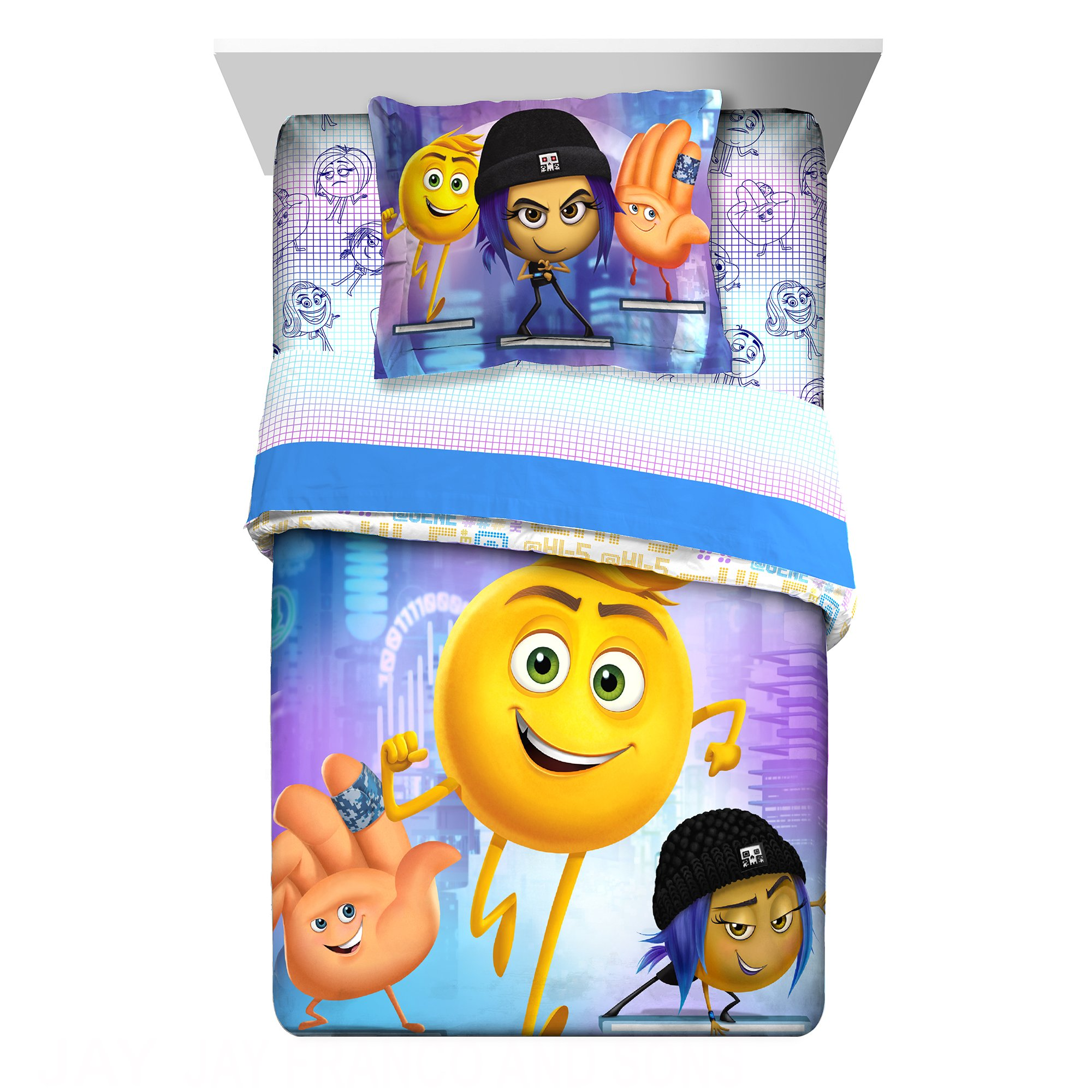 2 Piece Kids White Purple Blue Emoji Movie Comforter Twin/Full Set, Gene Addie Emoticon Bedding Hi-5 Face Icons Characters Funny Humor Hashtags Children, Polyester
