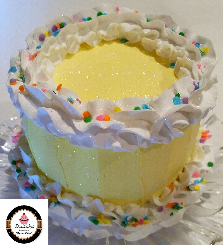 Amazon.com: Dezicakes Fake Cake Yellow Frosted Confetti Birthday ...