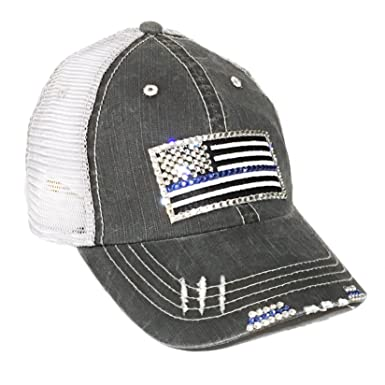 08e57ec36af Thin Blue Line Flag Baseball Cap for Women Fitted Mesh Trucker Swarovski  Bling
