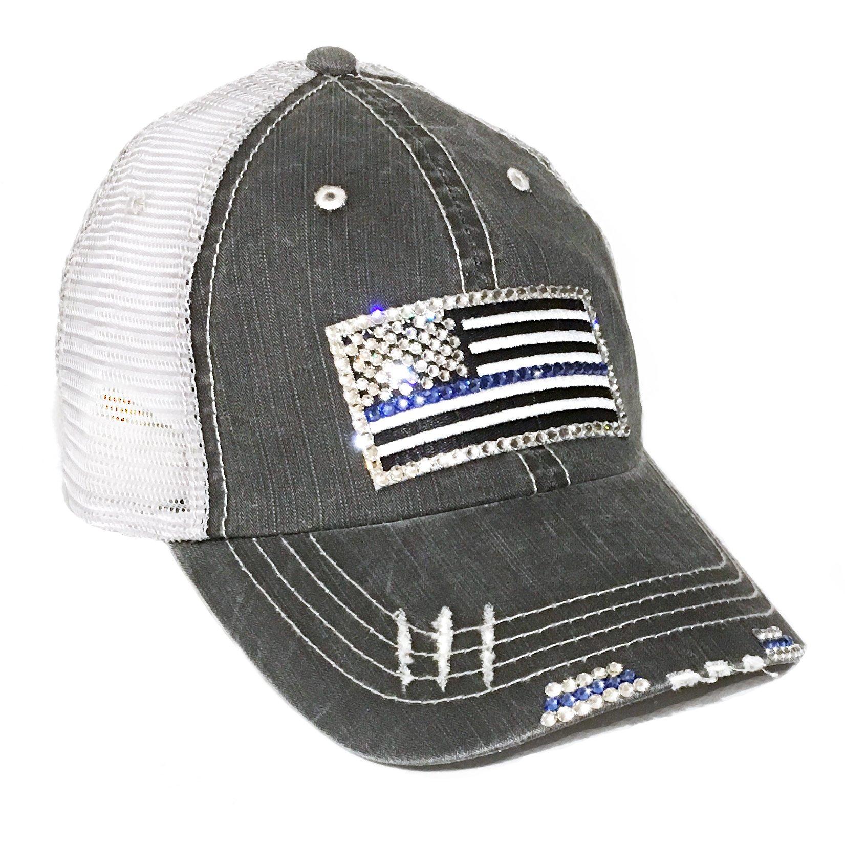 Thin Blue Line Flag Baseball Cap for Women Fitted Mesh Trucker Swarovski Bling