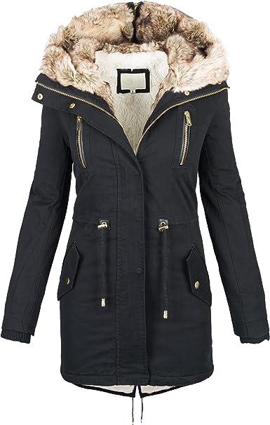 Golden Brands Selection Warme Damen Winter Jacke Parka Langer Mantel Winterjacke Fell Kragen S XL B420