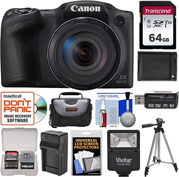 Canon PowerShot SX420 is Wi-Fi Digital Camera (Black) with 64GB Card + Case + Flash + Battery + Charger + Tripod + Kit
