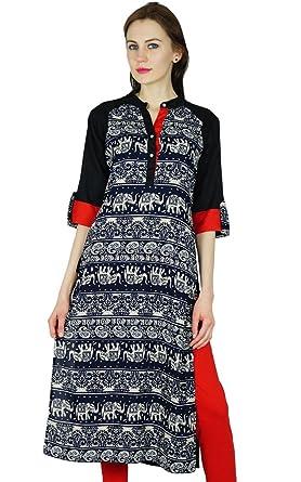 Bimba Women Rayon Custom Kurta Short Kurti with 3/4 Sleeve Black Top Indian Formal