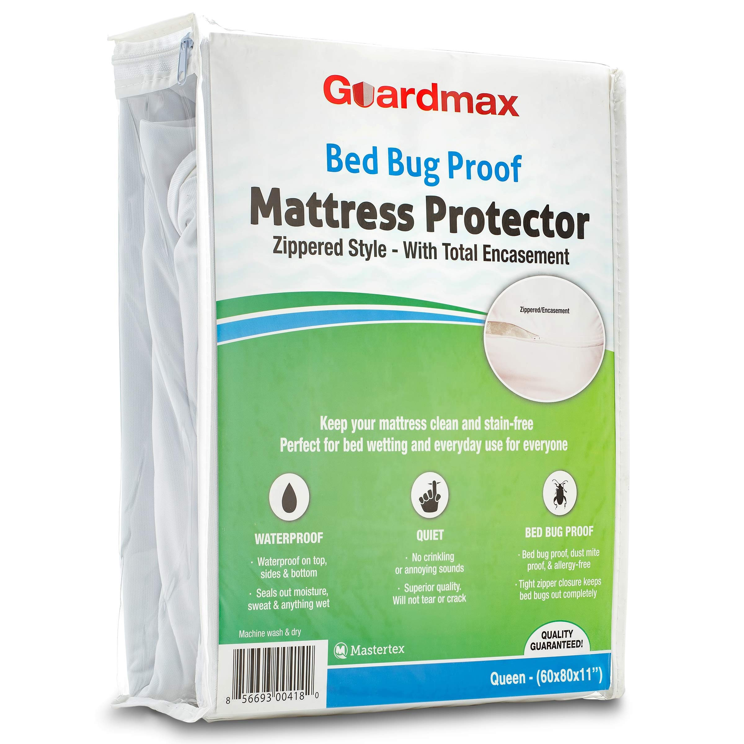 Guardmax Bed Bug Proof Mattress Encasement Protector Zippered Style, 100% Waterproof Cover, Hypoallergenic and Breathable, Soft and Noiseless - Queen Size (60x80x11)
