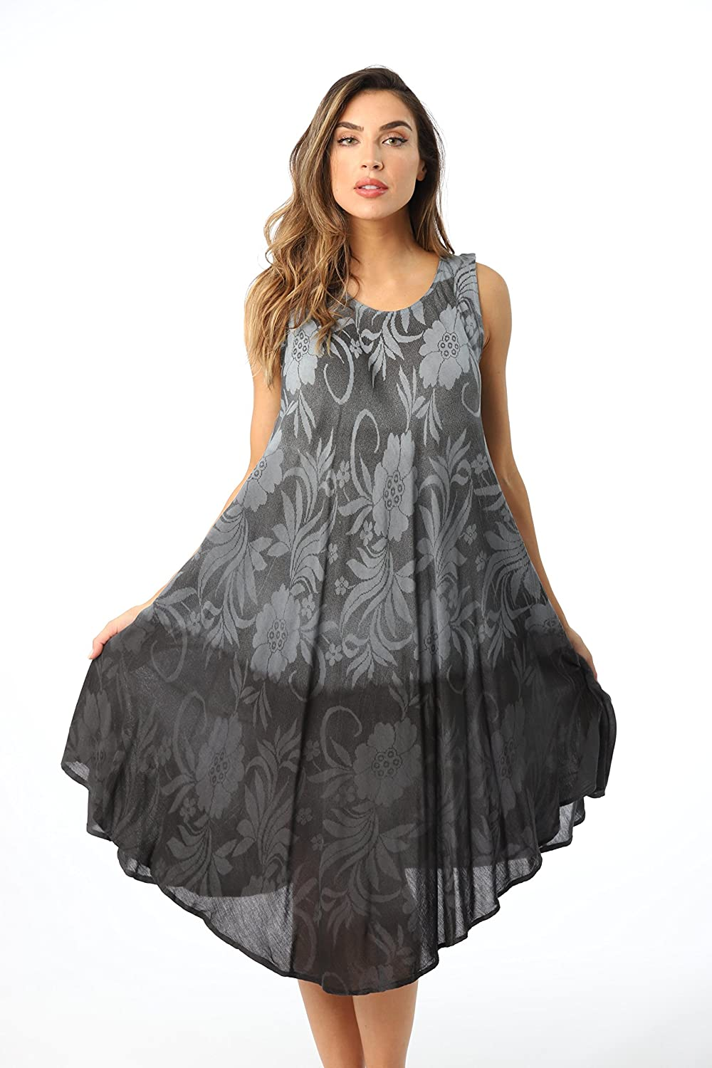 Riviera Sun Ombre Tie Dye Summer Dress with Floral Painted Design