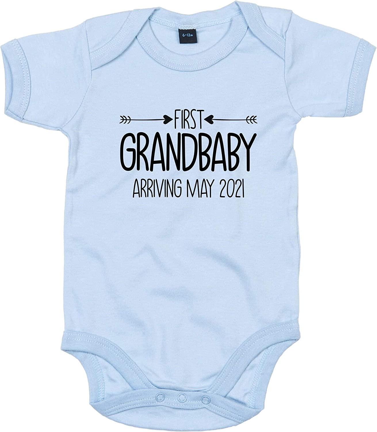 FunkyShirt Personalised Baby Grow Grandbaby On Board Mum to Be Grandad to Be Gift Grandma to Be Baby Announcement First Grandchild