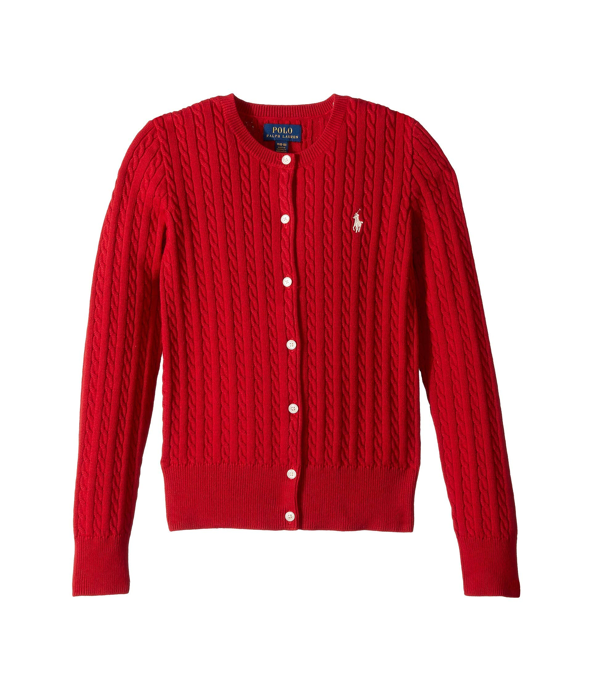 Ralph Lauren Girls Cable Knit Cotton Cardigan Size S, M (Red, Medium (8-10))