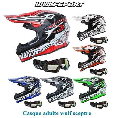 Casque moto WULF SCEPTRE ADULTE MX HELMET moto quad VTT motocross enduro casque sport + X1 lunettes noir