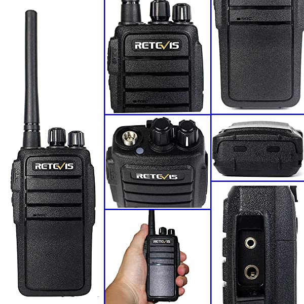 RETEVIS RT21 RADIO DE DOS VÍAS UHF RECARGABLE 400-480MHz 16 CH VOX Scrambler Silenciador de seguridad Walkie Talkies (10 Pack) y 2 Pin Covert Air Acoustic Auricular (10 Pack)