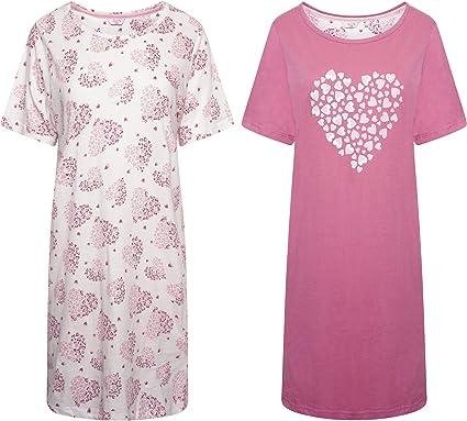 Pack de 2 camisetas de manga corta para mujer. Diseño de mariposa y corazón.: Amazon.es: Ropa y accesorios