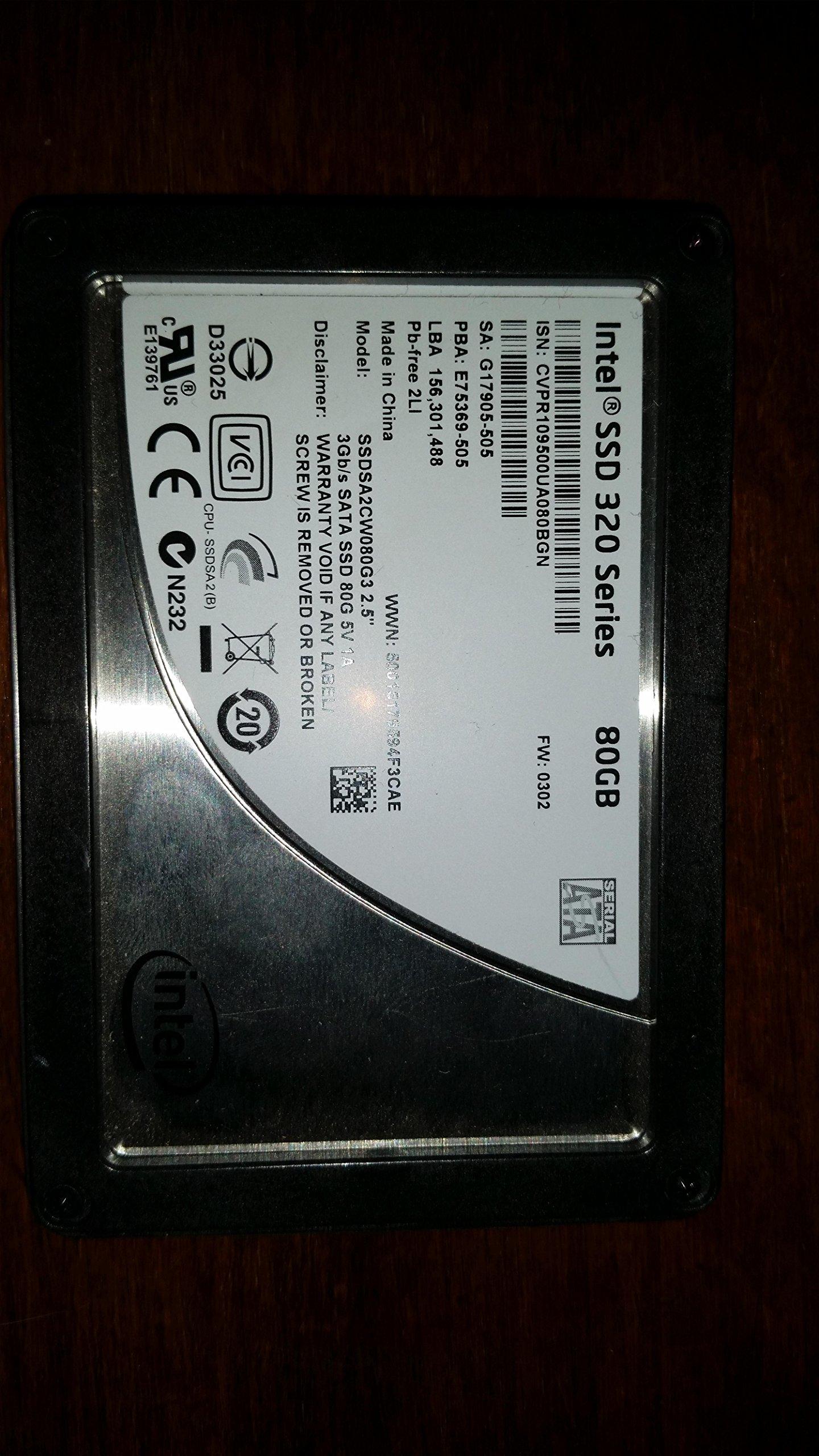 SSD 80GB SATA Intel SA2CW080G310 320 Series 80GB 9.5MM Gen3