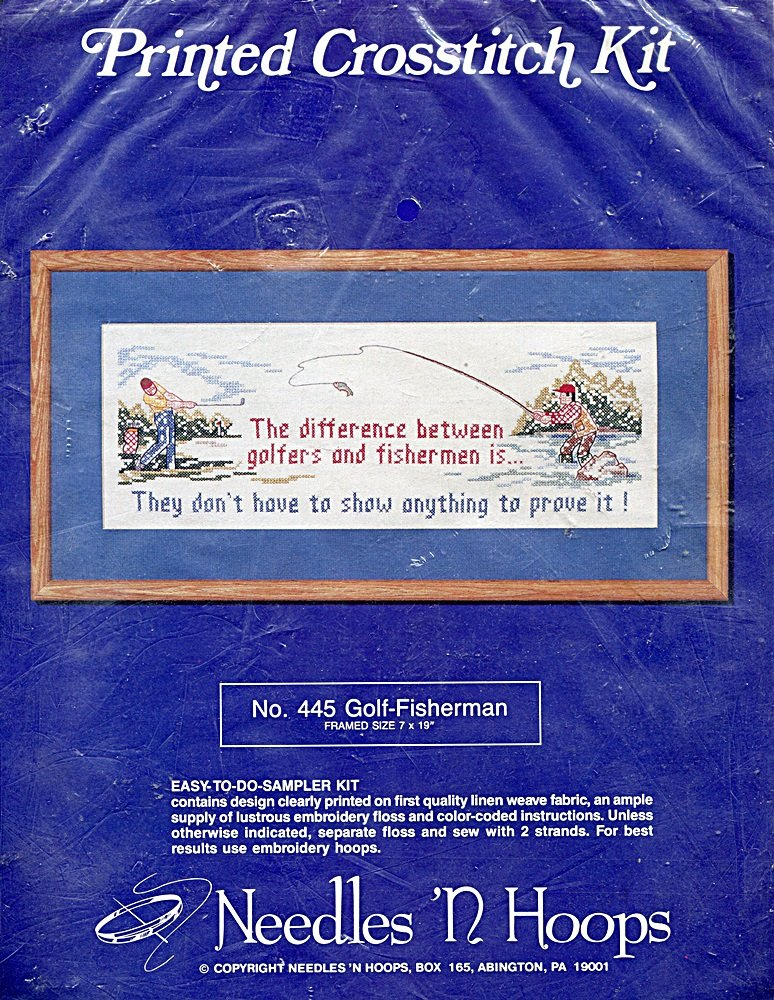 Amazon Needles N Hoops Golf Fisherman Stamped Cross Stitch