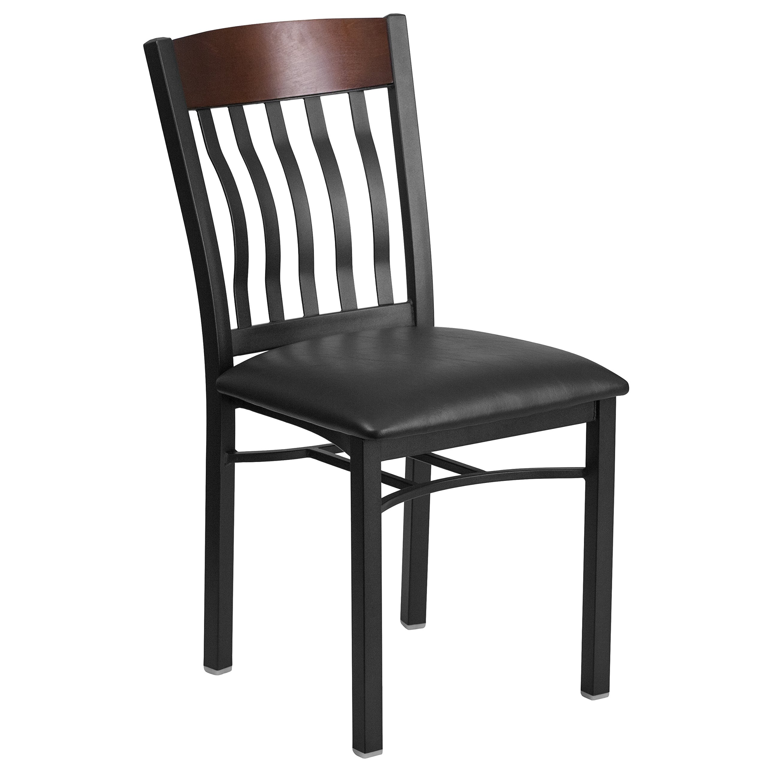 Flash Furniture Eclipse Series Vertical Back Black Metal and Walnut Wood Restaurant Chair with Black Vinyl Seat