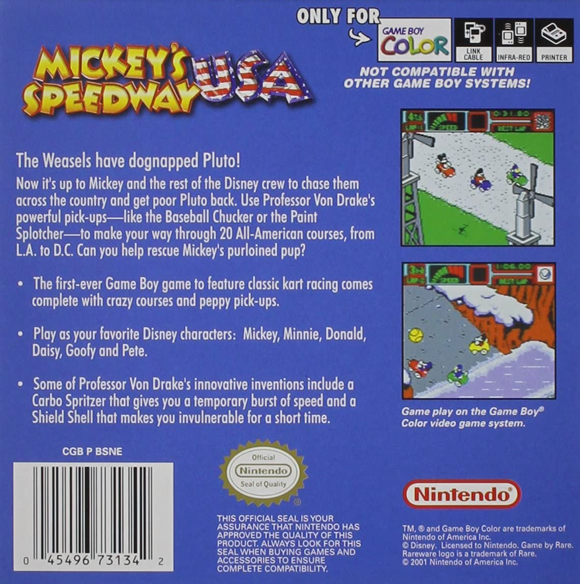 Gameplay color access code - Amazon Com Mickey S Speedway Usa Nintendo Game Boy Color Video Games