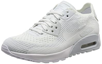 Nike Womens Air Max 90 Ultra 2.0 Flyknit White White Pure Platinum Casual  Shoe 5f5fb7871