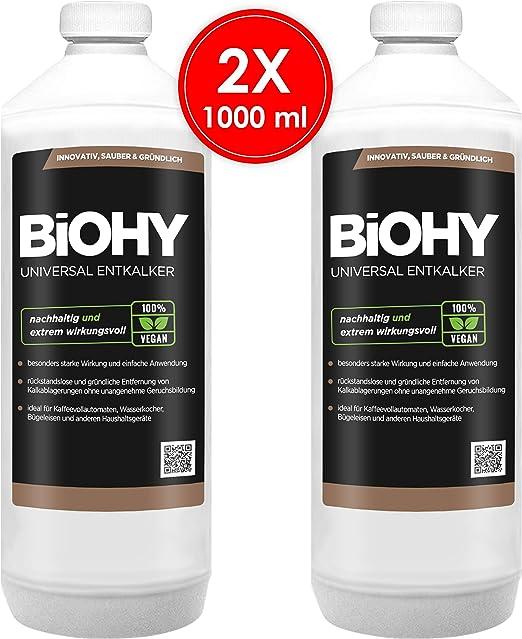 BIOHY Descalcificador Universal (2 Botellas de 1 litro) | Concentrado para 20 procesos de descalcificación| Compatible con cafeteras, como DELONGHI, Philips ...