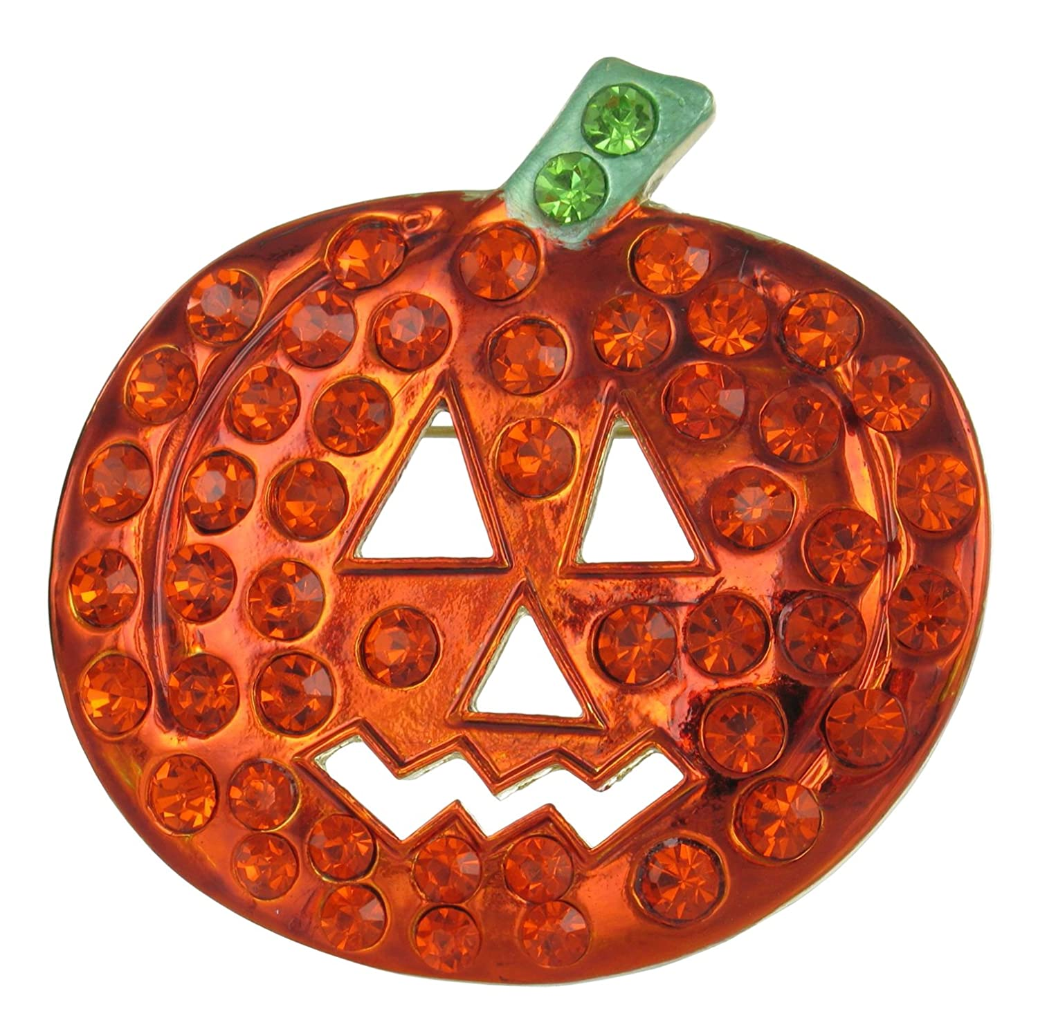 Extra Large Jack-O-Lantern Rhinestone Brooch Pin - Pumpkin Halloween Jewelry and Party Favor RUL 00-91728HYGR