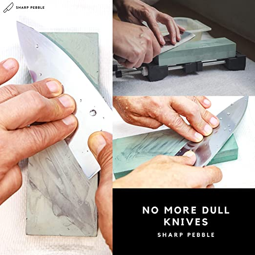 Sharp Pebble Premium Whetstone Sharpening Stone 2 Side Grit 400/1000-Whetstone Knife Sharpener with Flattening Stone & NonSlip Rubber Base